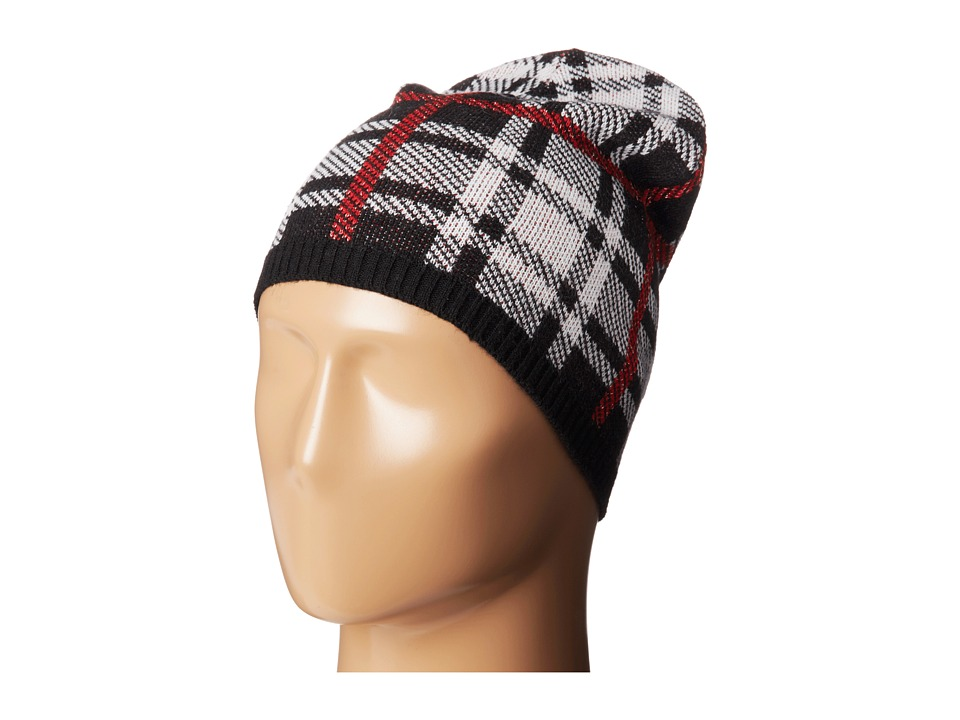 Betsey Johnson - Clash of the Tartans Beanie Hat (Black) Beanies