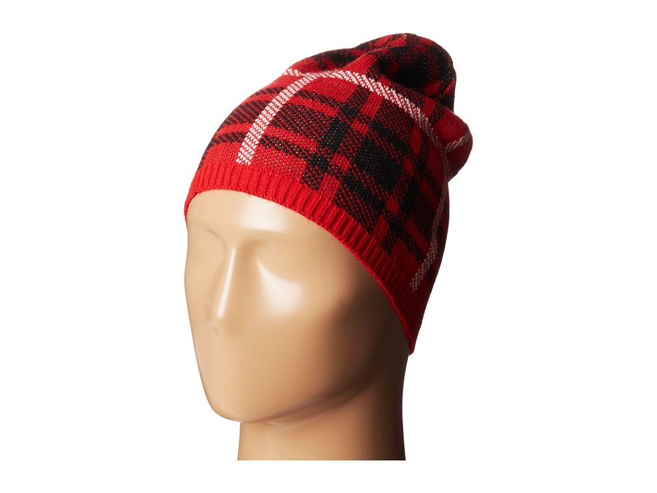 Betsey Johnson - Clash of the Tartans Beanie Hat (Red) Beanies