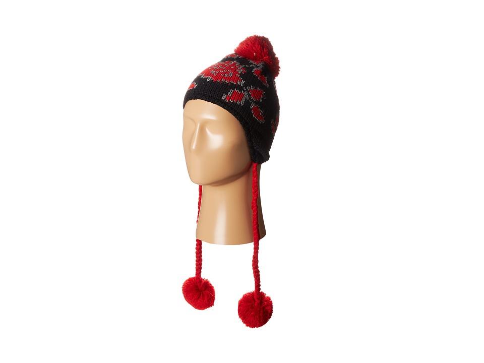 Betsey Johnson - Vintage Rose Earflap Hat (Black) Traditional Hats