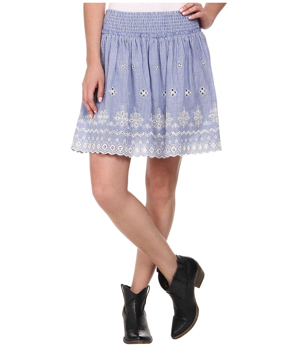 Ariat - Chambray Border Skirt (Blue) Women's Skirt