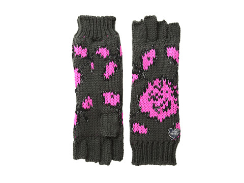 Betsey Johnson - Vintage Rose Half-Finger Glove (Dark Grey) Extreme Cold Weather Gloves