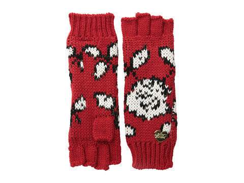 Betsey Johnson - Vintage Rose Half-Finger Glove (Bright Red) Extreme Cold Weather Gloves