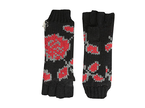 Betsey Johnson - Vintage Rose Half-Finger Glove (Black) Extreme Cold Weather Gloves