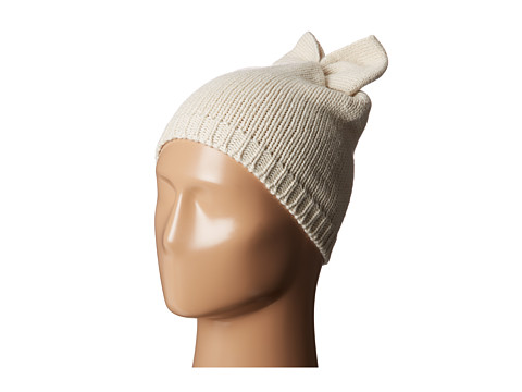 Betsey Johnson - Solid Bow Beanie Hat (Cream) Beanies