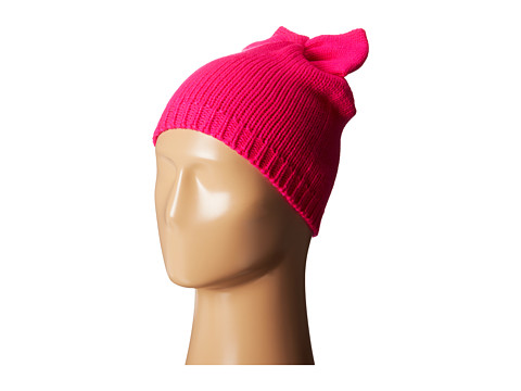 Betsey Johnson - Solid Bow Beanie Hat (Neon Pink) Beanies