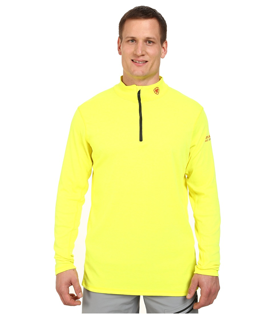 Ariat - Big Tall FR Polartec 1/4 Zip Baselayer (Safety Yellow) Men's Long Sleeve Pullover