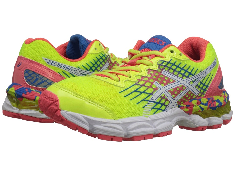ASICS - Gel-Nimbus 17 GS (Little Kid/Big Kid) (Flash Yellow/Flash Pink/Blue) Women