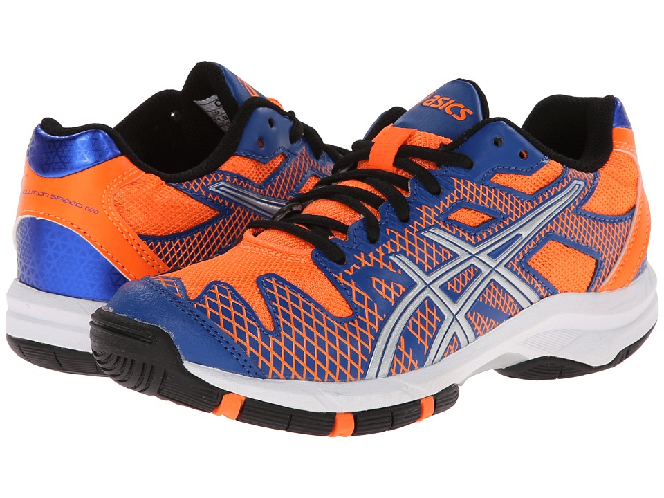 ASICS Kids - Gel-Solution Speed GS (Little Kid/Big Kid) (Blue/Flash Orange/Silver) Boys Shoes