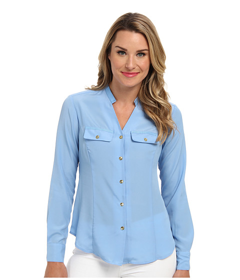 Jones New York - Ribbon Trimmed Utility Shirt (Rainwater) Women's Long Sleeve Button Up