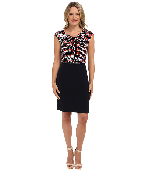 Jones New York - Belted Dress Combo (Navy Combo) Women's Dress