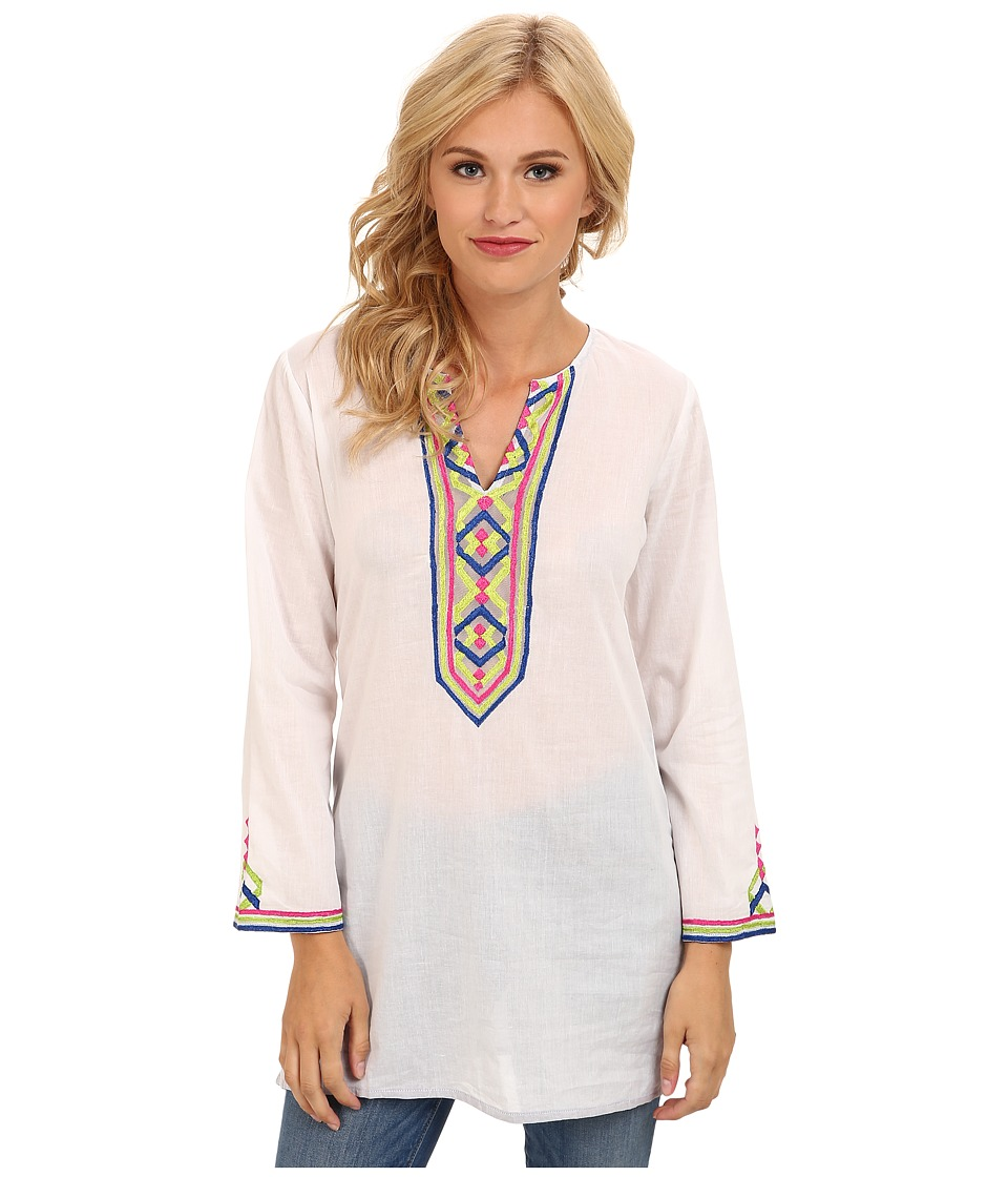 KAS New York - Petula Emb Cut Tunic (White 1) Women's Blouse