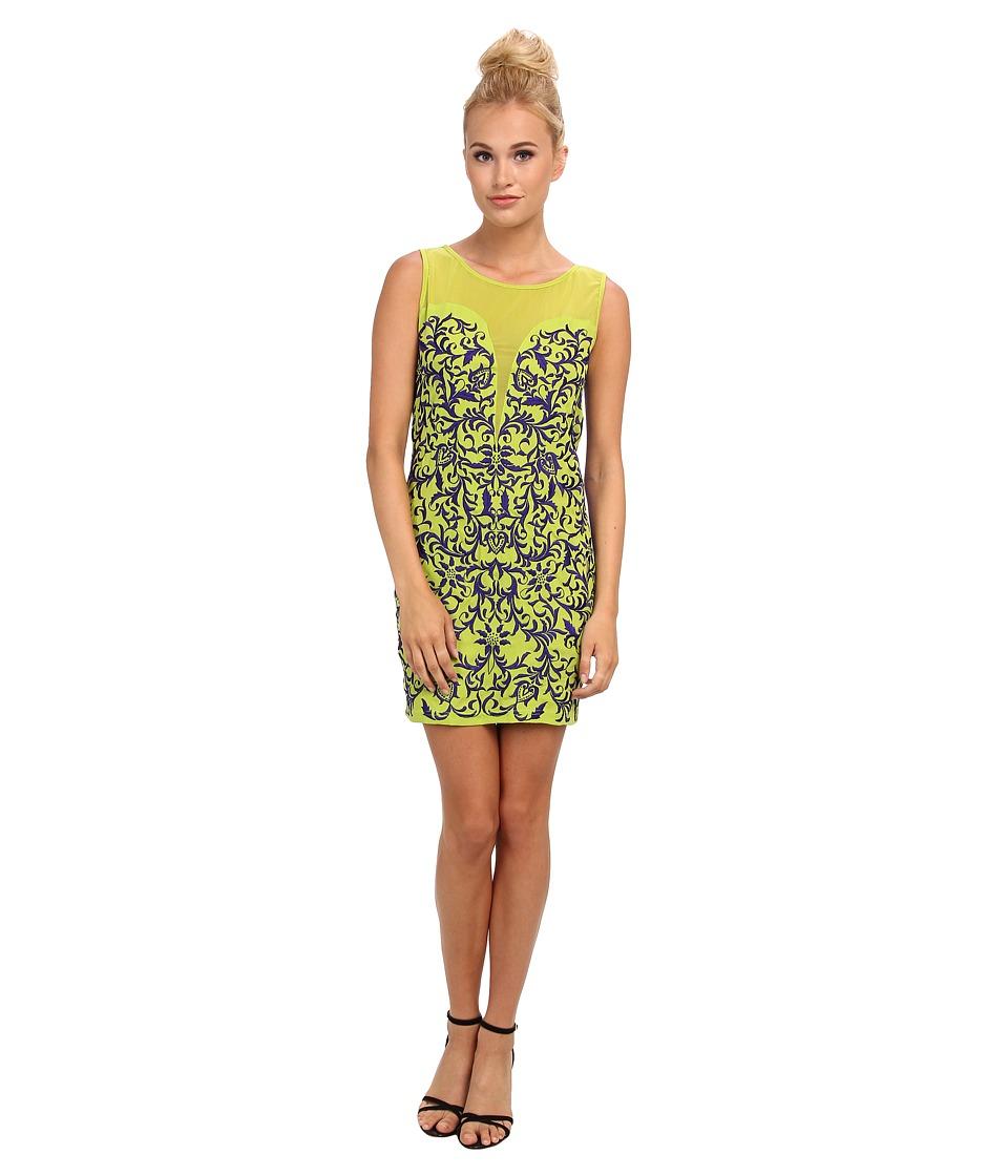 KAS New York Mika Embroidered Sheath Dress (Green) Women