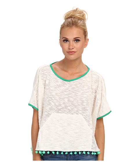 KAS New York - Tiva Pom Pom Top (White) Women's Short Sleeve Pullover