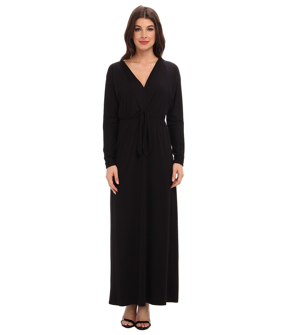 Three Dots - V-Neck Maxi Dress w/ Tie Detail (Black) Women's Dress