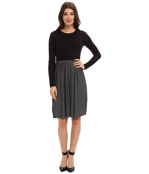 Three Dots - Crew L/S Contrast Dress (Charcoal/Black) Women's Dress