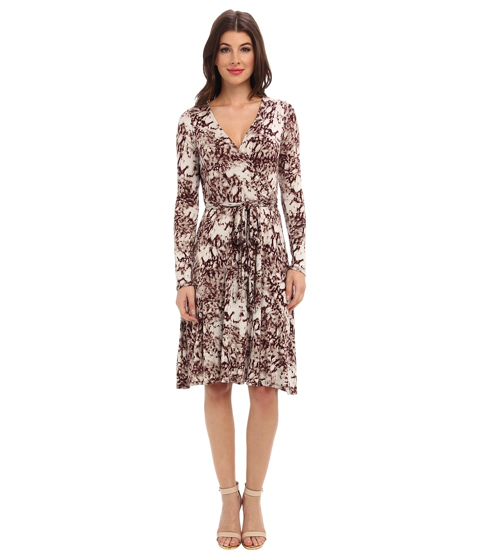 Three Dots - L/S Wrap Dress w/ Sash (Willow Port/Mauve Combo) Women's Dress