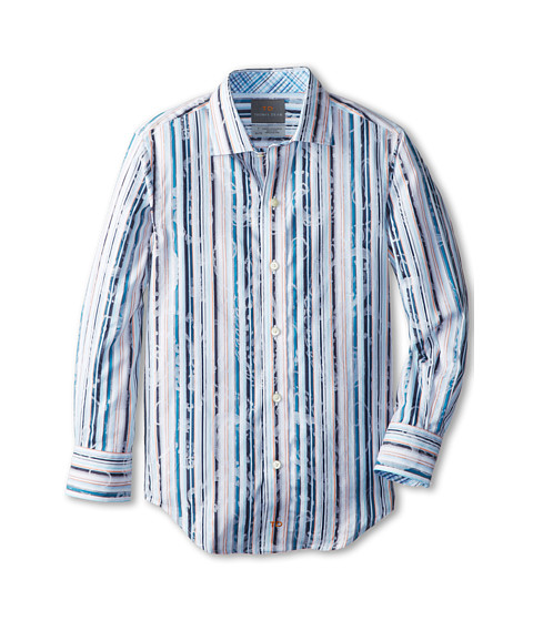 Thomas Dean & Co. Kids - Aqua Satin Stripe L/S Shirt (Little Kids) (Aqua) Boy's Long Sleeve Button Up
