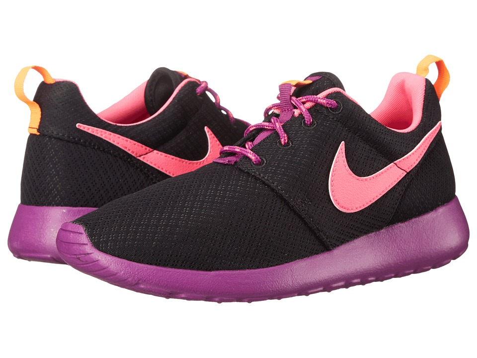 Nike Kids - Roshe Run (Little Kid/Big Kid) (Black/Bold Berry/Total Orange/Pink Pow) Girls Shoes