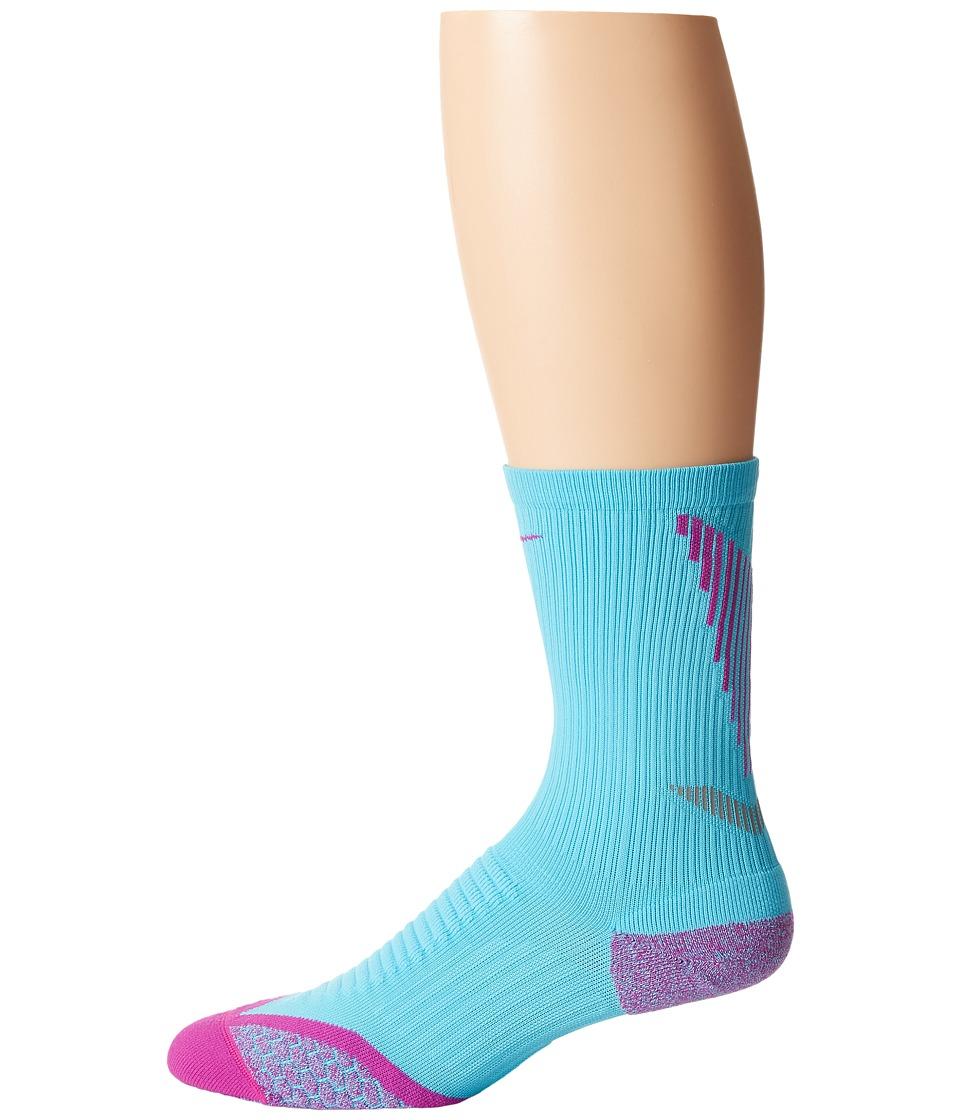 Nike - Elite Running Cushion Crew (Clearwater/Fuchsia Flash/Fuchsia Flash) Crew Cut Socks Shoes