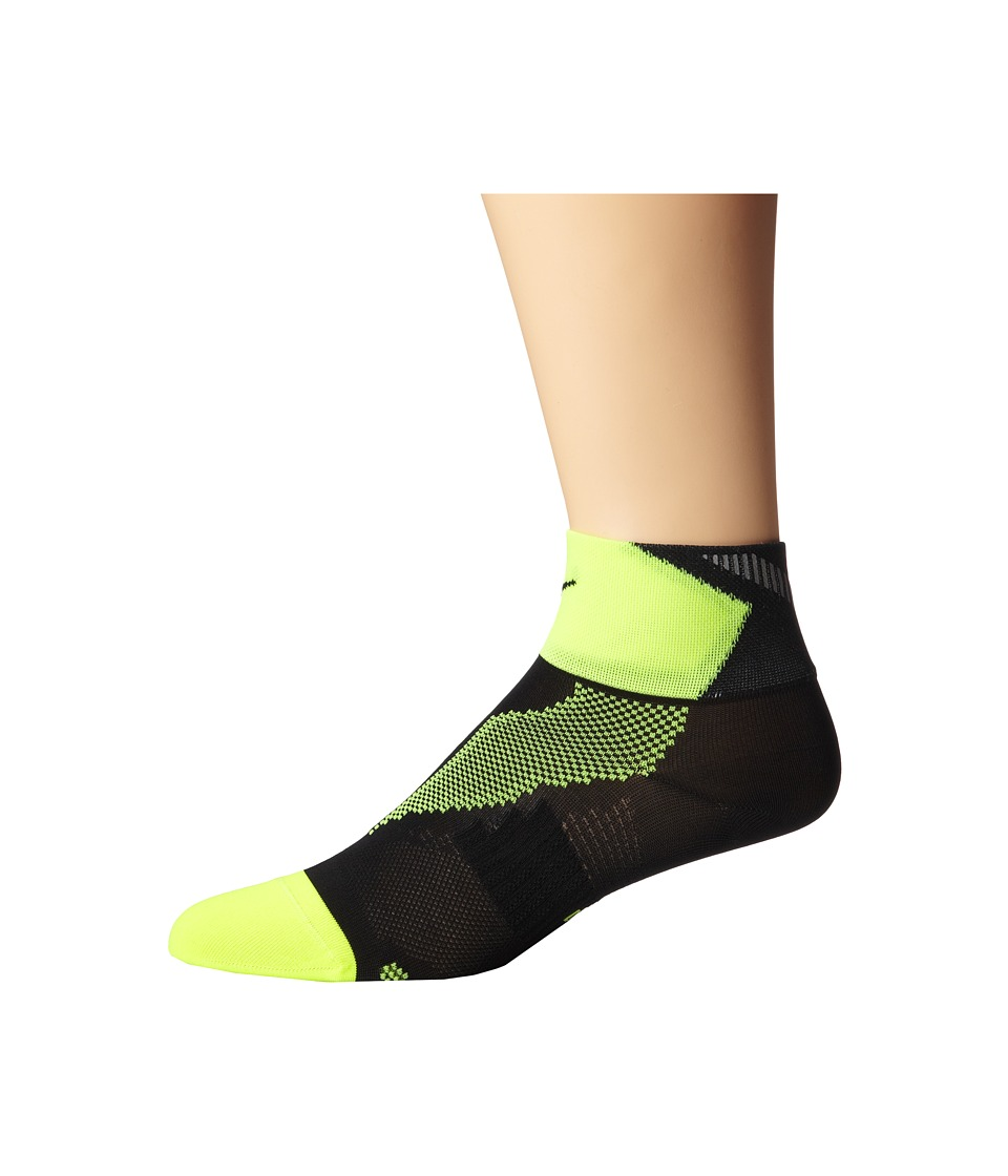 Nike - Elite Run Lightweight Quarter (Black/Volt/Black) Quarter Length Socks Shoes