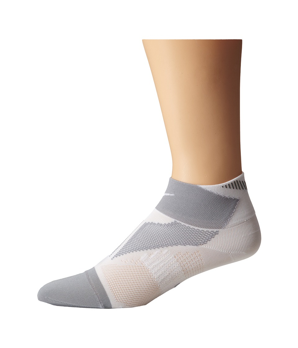 Nike - Elite Run Lightweight Quarter (White/Wolf Grey/White) Quarter Length Socks Shoes