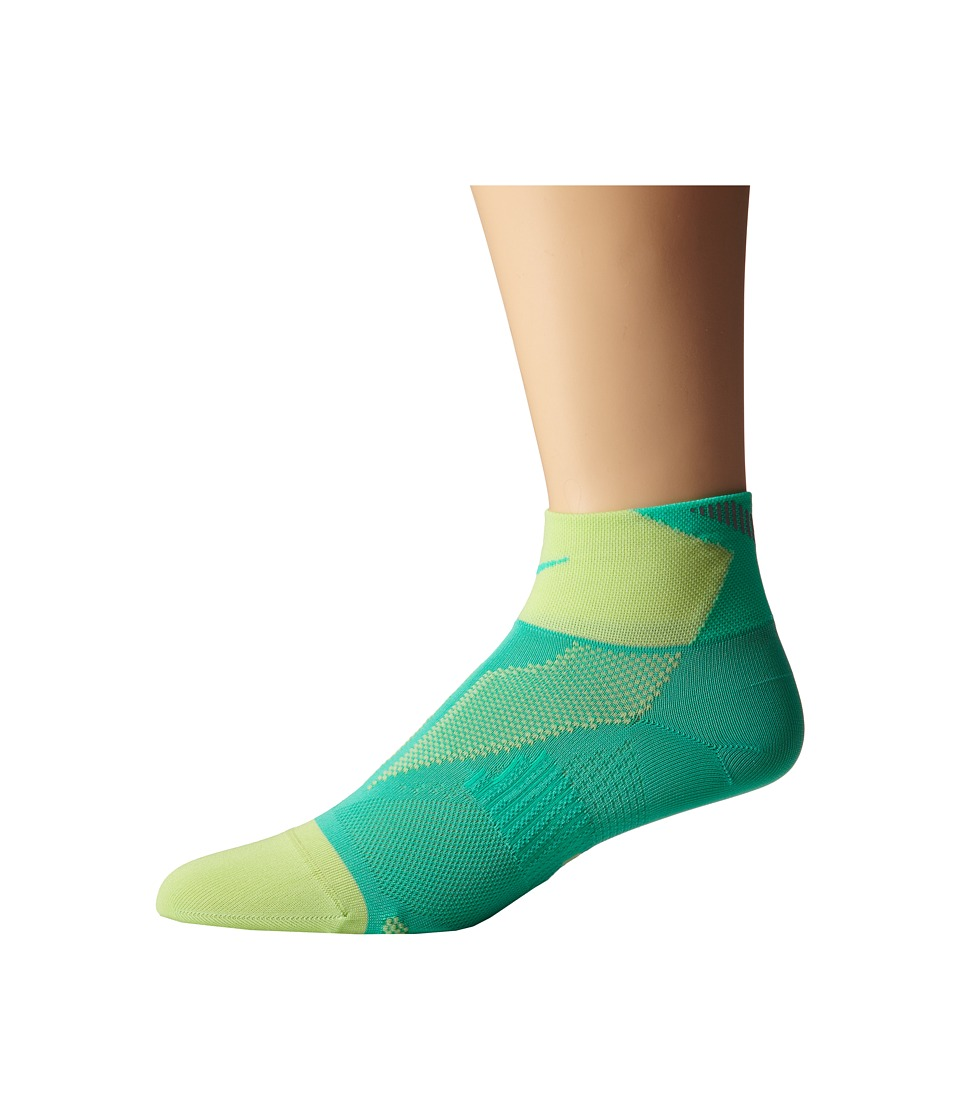 Nike - Elite Run Lightweight Quarter (Menta/Key Lime/Menta) Quarter Length Socks Shoes