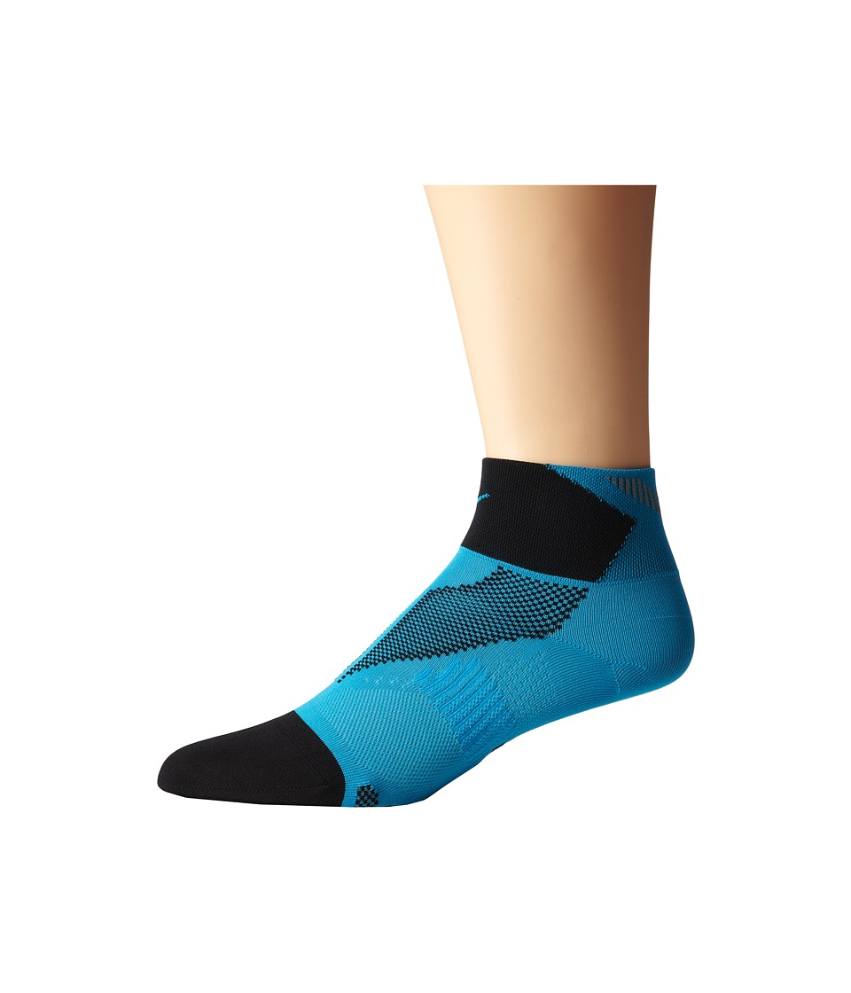 Nike - Elite Run Lightweight Quarter (Blue Lagoon/Black/Bllgon) Quarter Length Socks Shoes