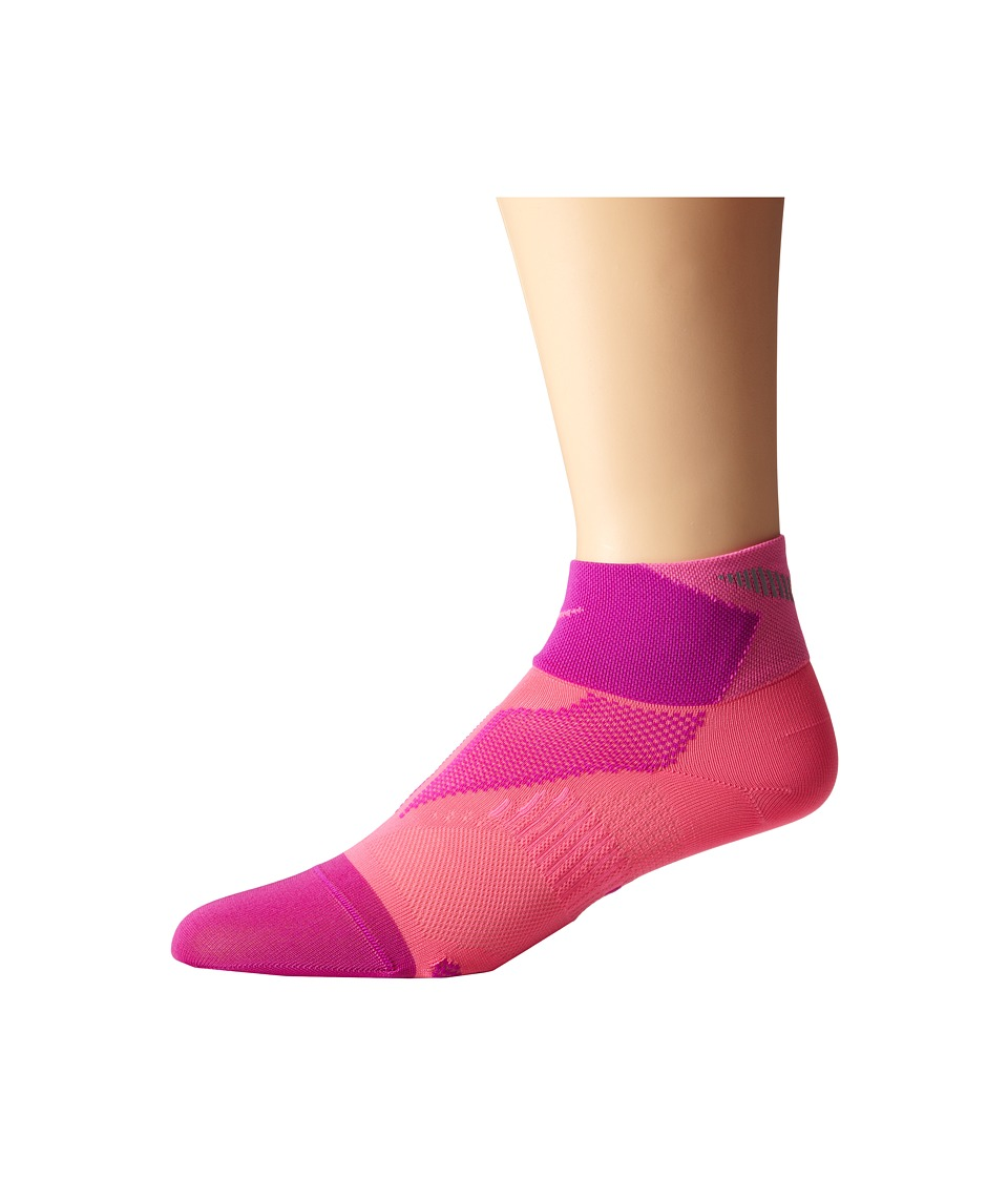 Nike - Elite Run Lightweight Quarter (Pink Pow/Fuchsia Flash/Pink Pow) Quarter Length Socks Shoes