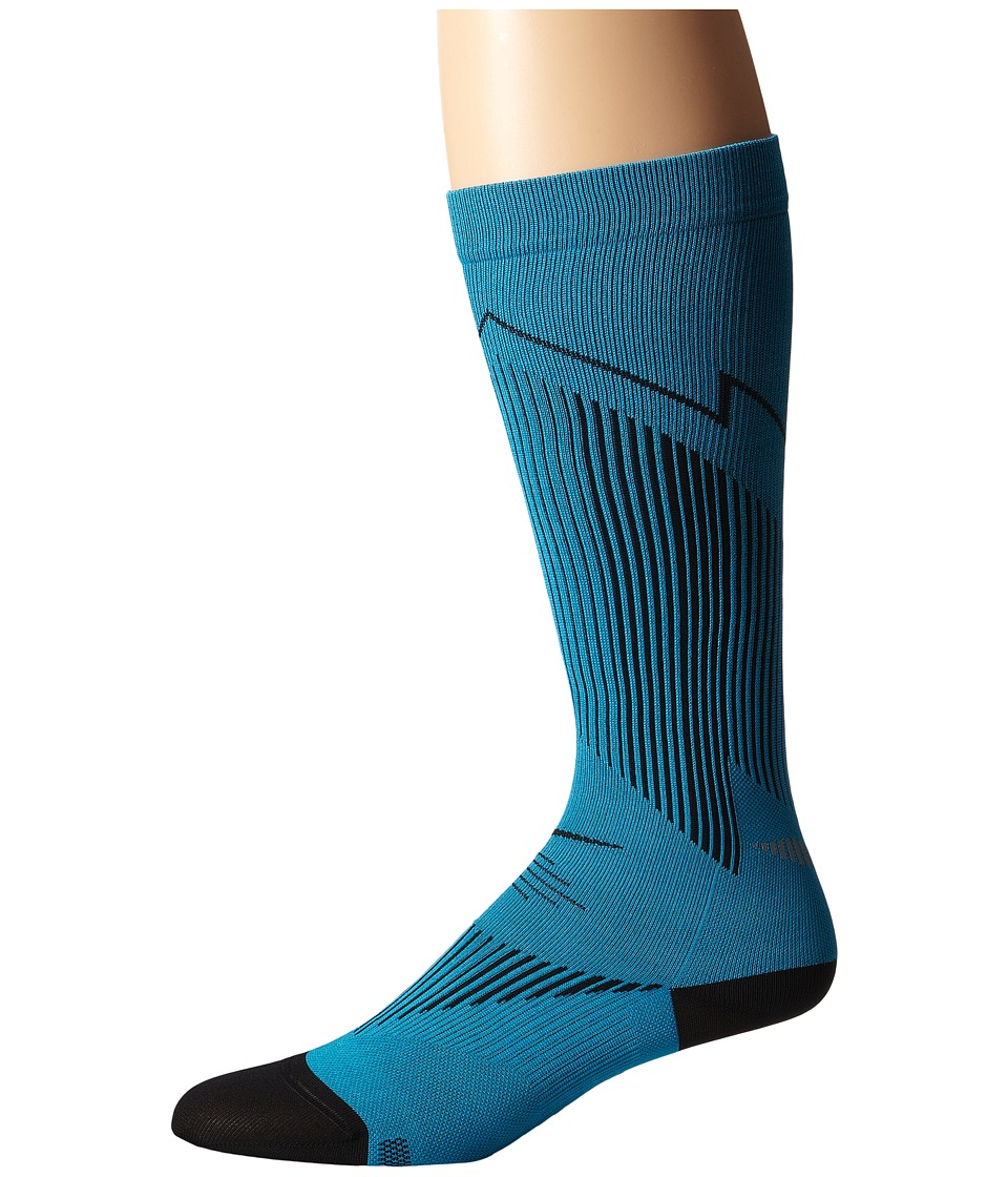 Nike - Elite Running Graduated (Blue Lagoon/Black/Black) Knee High Socks Shoes