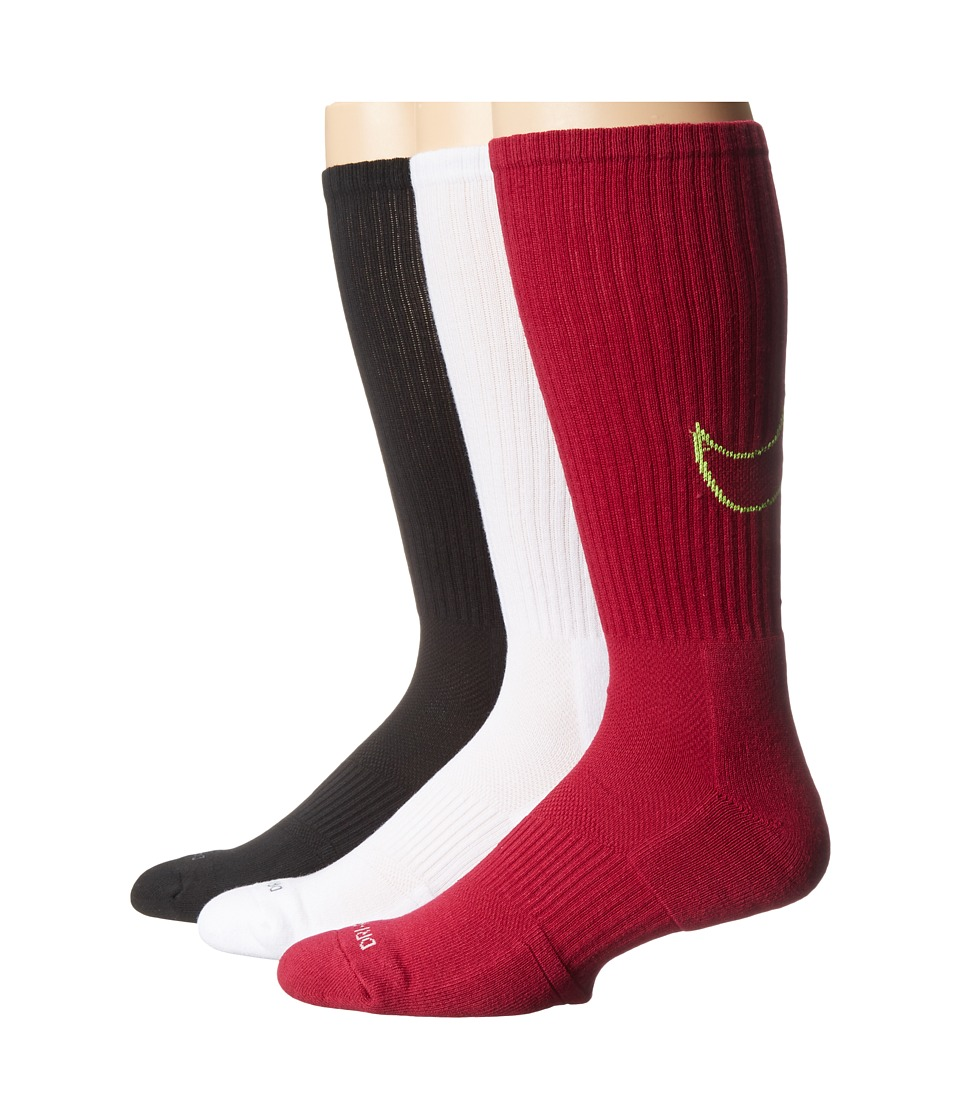 Nike - Dri-FIT Cotton Swoosh Crew 3-Pair Pack (White/Fireberry/Dark Fireberry/Volt/Fireberry/Volt) Crew Cut Socks Shoes