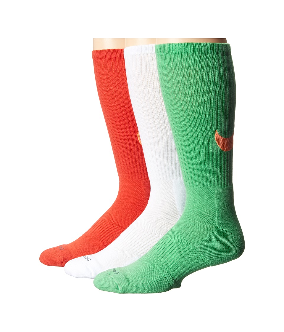 Nike - Dri-FIT Cotton Swoosh Crew 3-Pair Pack (White/Light Green Spark/Gamma Orange) Crew Cut Socks Shoes