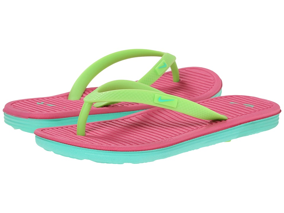 Nike Kids - Solarsoft Thong 2 (Little Kid/Big Kid) (Flash Lime/Hot Pink/Menta) Girls Shoes