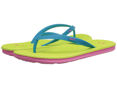Nike Kids - Solarsoft Thong 2 (Little Kid/Big Kid) (Blue Lagoon/Volt/Pink Pow) Girls Shoes