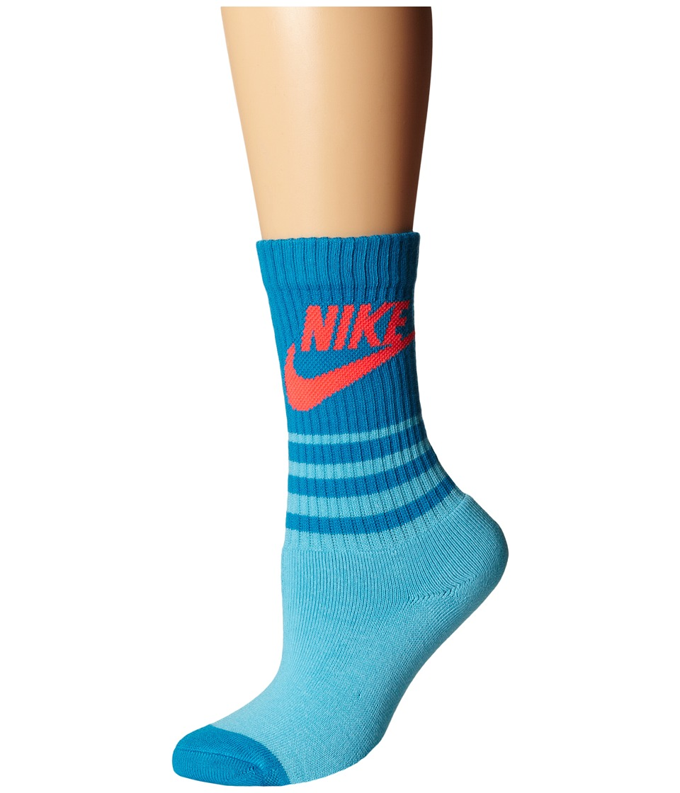 Nike - NSW Classic Striped HBR Sock (Clearwater/Light Blue Lacquer/Bright Crimson) Men's Crew Cut Socks Shoes