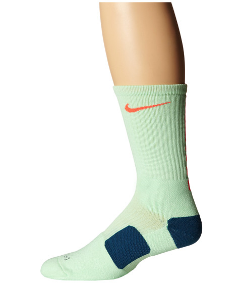 Nike - Elite Basketball Crew (Vapor Green/Bright Crimson/Bright Crimson) Crew Cut Socks Shoes