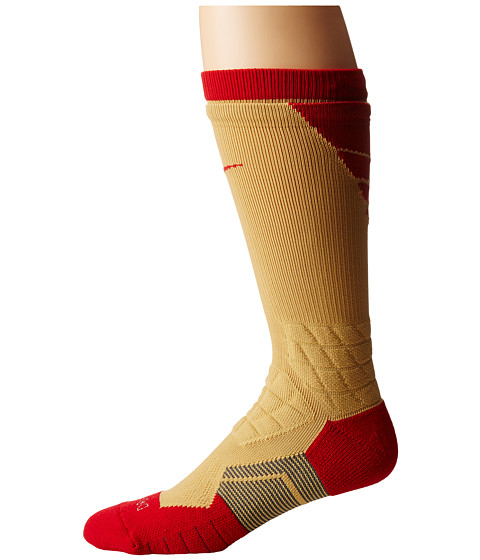 Nike - 2.0 Elite Vapor Football (Club Gold/Gym Red/Gym Red) Crew Cut Socks Shoes