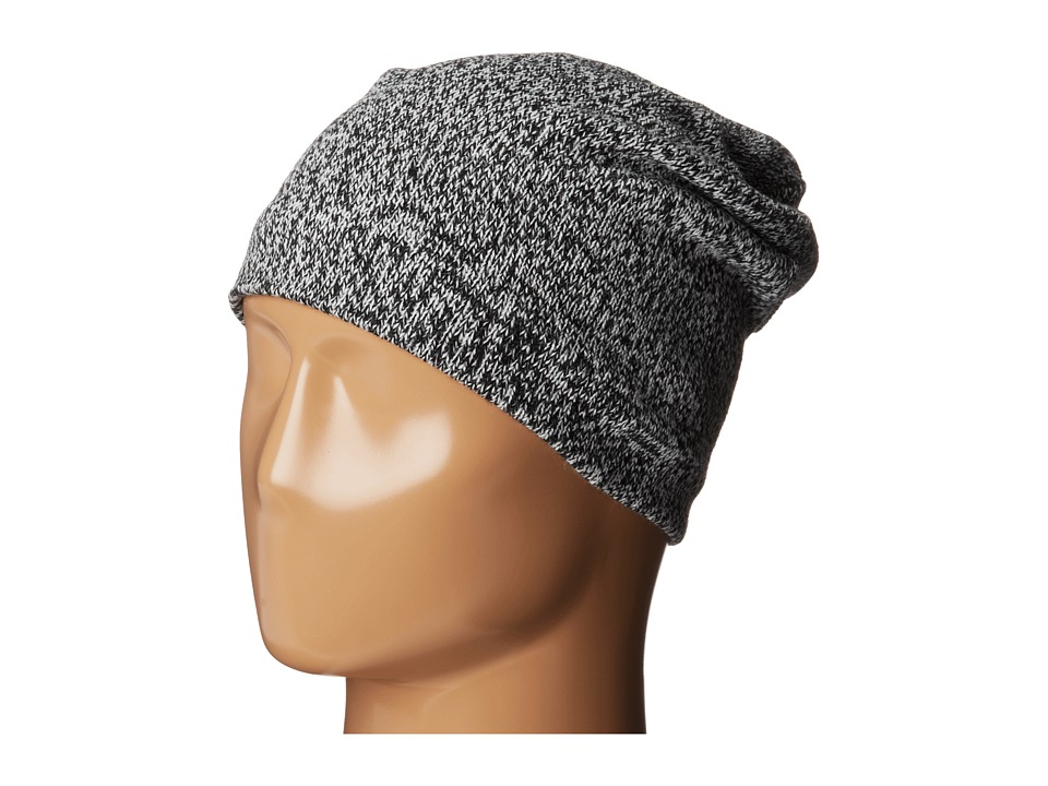 Plush - Fleece-Lined Marled Beanie (Black/White) Beanies