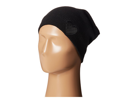 Plush - Fleece-Lined Heart Patch Beanie (Black) Beanies