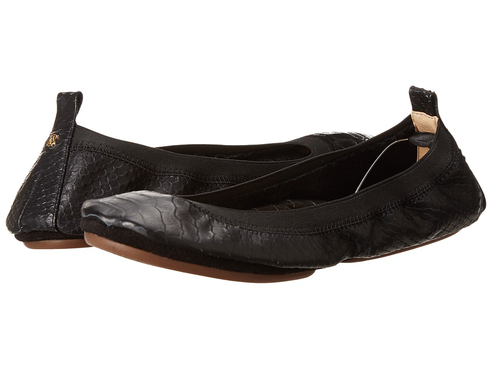 Yosi Samra Samara Croco Embossed Leather Fold Up Flat (Black) Women