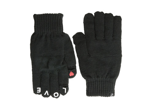 Plush - Fleece-Lined Love Smartphone Gloves (Black) Dress Gloves