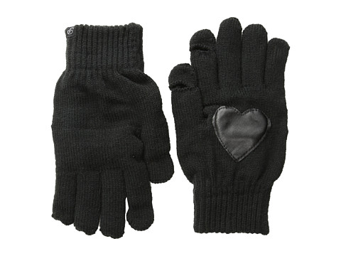 Plush - Fleece-Lined Heart Patch Smartphone Gloves (Black) Dress Gloves