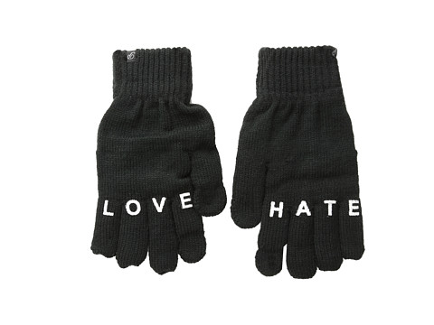 Plush - Fleece-Lined Love/Hate Smartphone Gloves (Black) Dress Gloves