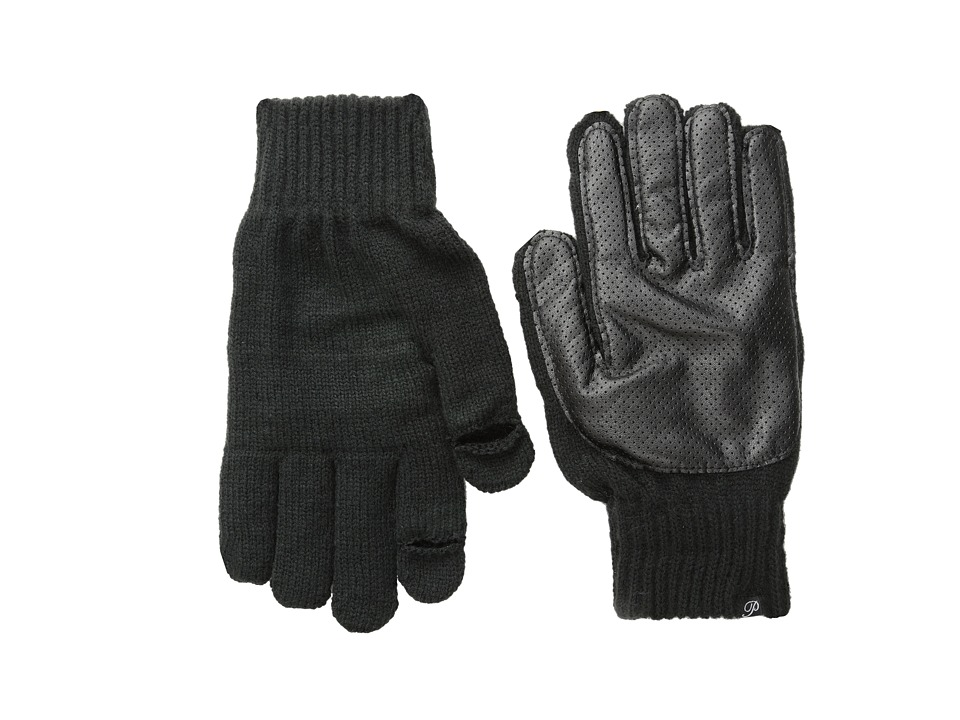 Plush - Fleece-Lined Perforated Fx Leather Smartphone Gloves (Black) Dress Gloves