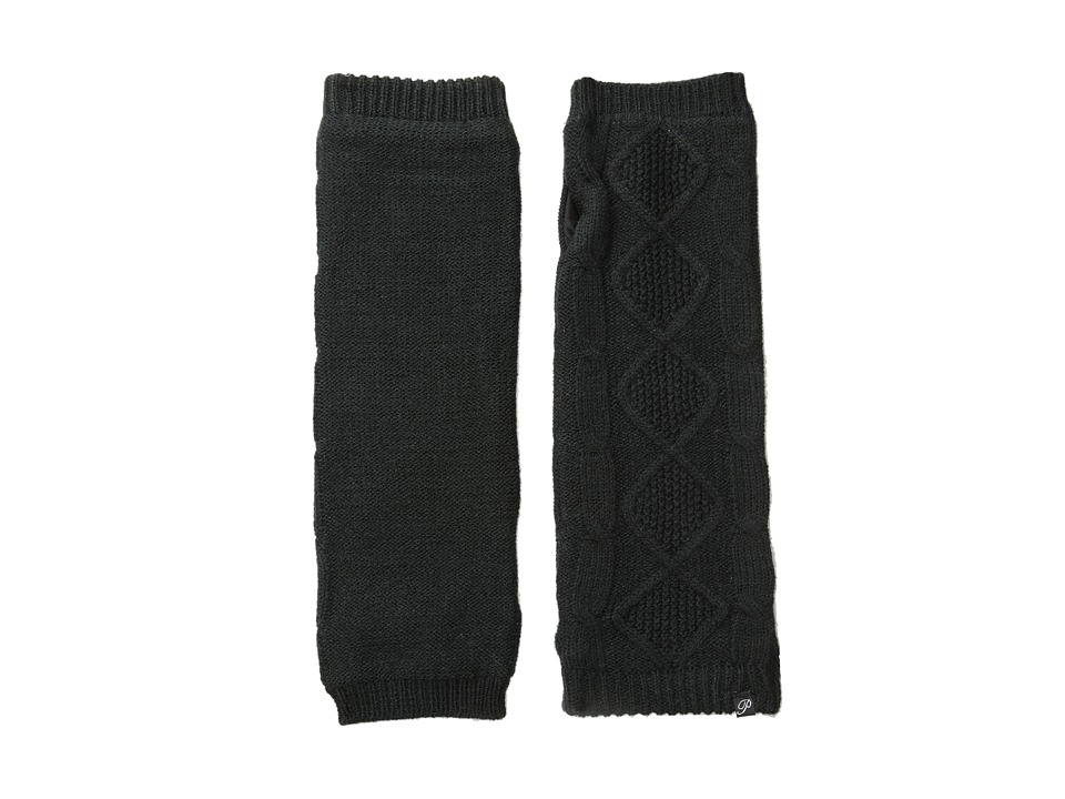 Plush - Fleece-Lined Cable Knit Arm Warmer (Black) Dress Gloves