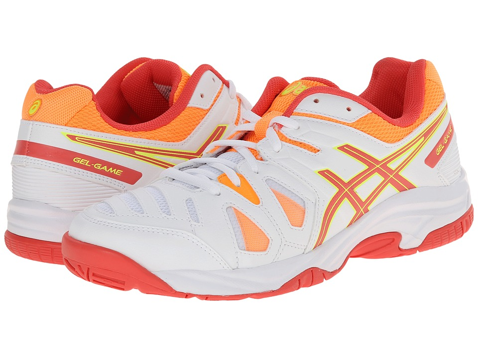 ASICS Kids - Gel-Game 5 GS (Little Kid/Big Kid) (White/Hot Coral/Nectarine) Girls Shoes