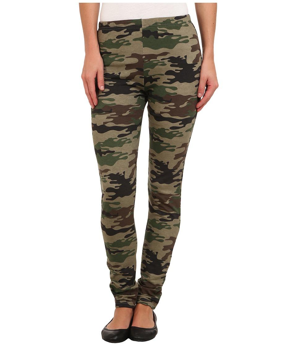 Plush - Fleece-Lined Camo Legging (Green) Women's Clothing
