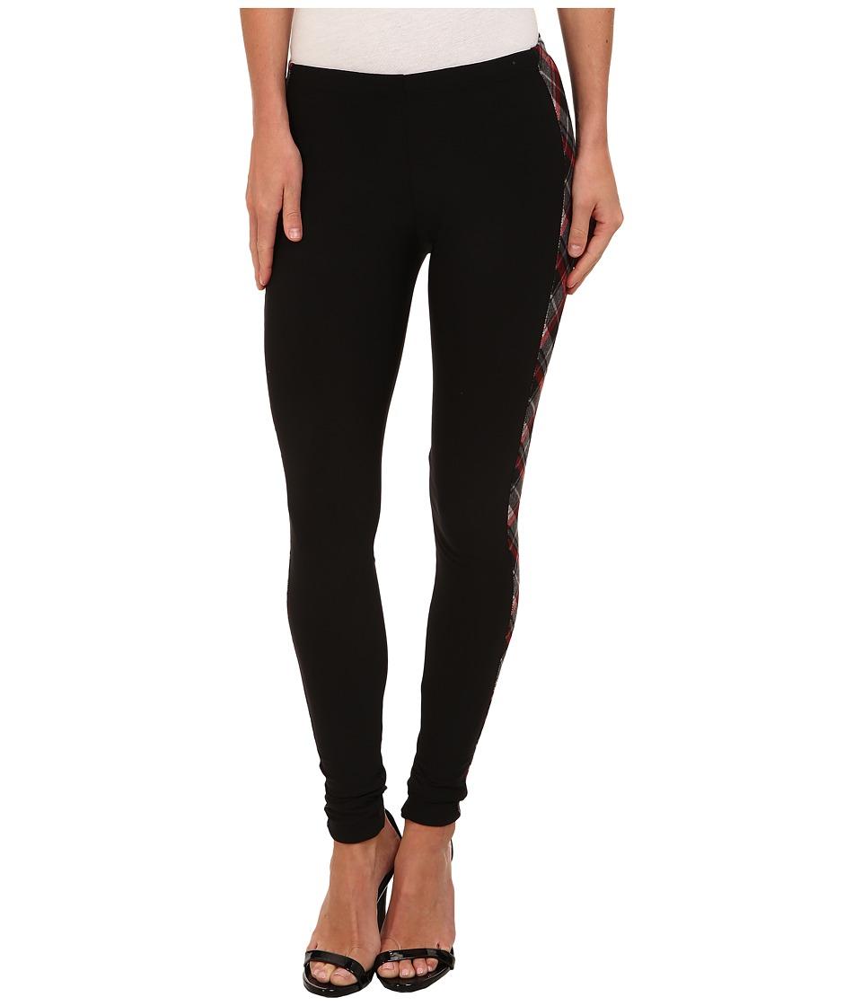 Plush - Fleece-Lined Plaid Tuxedo Legging (Black) Women's Clothing