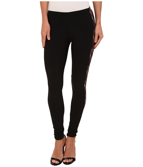 Plush - Fleece-Lined Plaid Tuxedo Legging (Black) Women