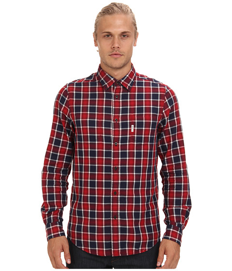 Ben Sherman - Reversible Check/Chambray L/S Woven (Crimson) Men's Long Sleeve Button Up