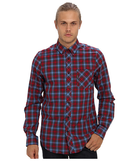 Ben Sherman - Long Sleeve Pop Tartan Poplin Check Woven MA10846A (Crimson) Men